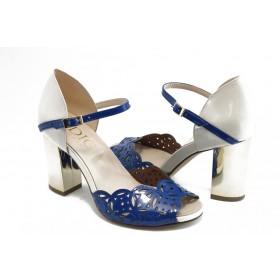 Дамски сандали - естествена кожа-лак - сини - EO-3088