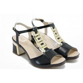 Дамски сандали - естествена кожа-лак - черни - EO-3083