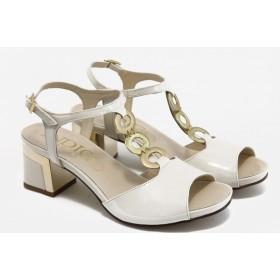 Дамски сандали - естествена кожа-лак - бежови - EO-3093