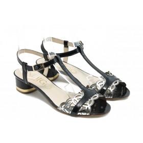 Дамски сандали - естествена кожа-лак - черни - EO-3094