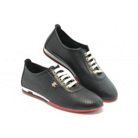 Равни дамски обувки - естествена кожа с перфорация - черни - EO-3099