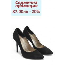 Дамски обувки на висок ток - естествен набук - черни - EO-3071