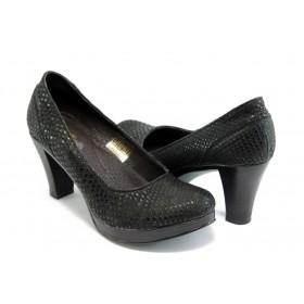 """Дамски обувки на среден ток - естествена кожа с """"кроко"""" мотив - черни - EO-3140"""