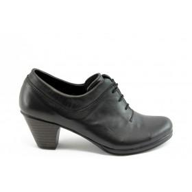 Дамски обувки на среден ток - естествена кожа - черни - EO-3141
