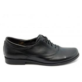 Равни дамски обувки - естествена кожа - черни - EO-6348