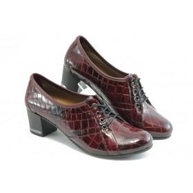"""Дамски обувки на среден ток - естествена кожа с """"кроко"""" мотив - бордо - EO-3328"""