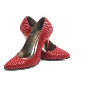 Дамски обувки на висок ток - висококачествена еко-кожа - бордо - EO-4787