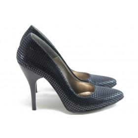 Дамски обувки на висок ток - висококачествена еко-кожа - сини - ЕО 25002 син