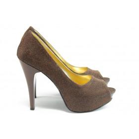 Дамски обувки на висок ток - текстилен материал с брокат - кафяви - EO-3331