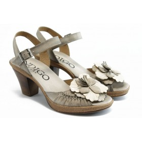Дамски сандали - естествен набук - бежови - EO-3368