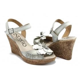 Дамски сандали - естествен набук - бели - EO-3369