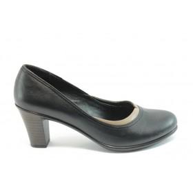 Дамски обувки на среден ток - естествена кожа - черни - EO-3413