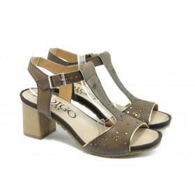 Дамски сандали - естествен набук - кафяви - EO-3365