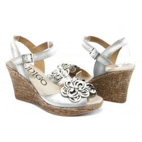 Дамски сандали - естествен набук - бежови - EO-3366