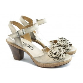 Дамски сандали - естествен набук - бежови - EO-3367