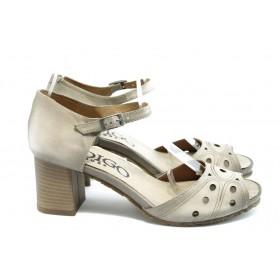 Дамски сандали - естествен набук - бежови - EO-3425