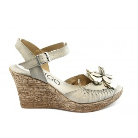 Дамски сандали - естествен набук - бежови - EO-3426