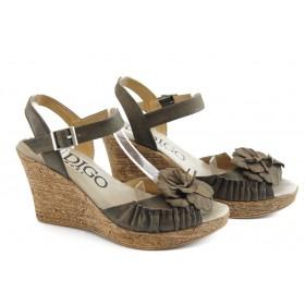 Дамски сандали - естествен набук - кафяви - EO-3427