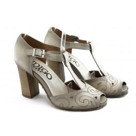Дамски сандали - естествен набук - бежови - EO-3428