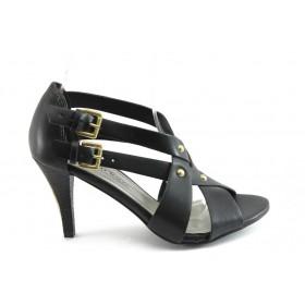 Дамски сандали - висококачествена еко-кожа - черни - EO-3422