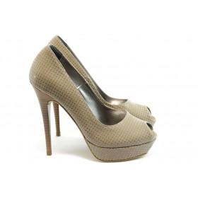 Дамски обувки на висок ток - висококачествена еко-кожа - бежови - EO-3467