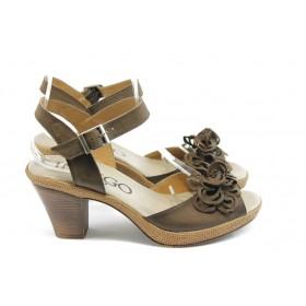 Дамски сандали - естествен набук - кафяви - EO-3507