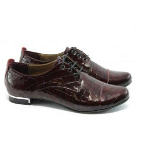 Равни дамски обувки - естествена кожа - бордо - EO-3511