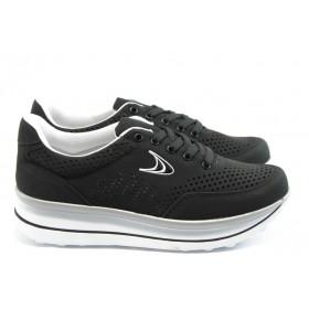 Дамски обувки на платформа - висококачествен текстилен материал - черни - EO-3513