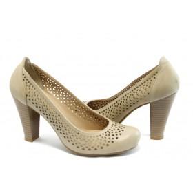 Дамски обувки на висок ток - естествена кожа с перфорация - кафяви - EO-3537