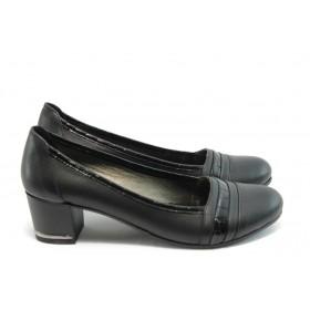 Дамски обувки на среден ток - естествена кожа - черни - EO-3578