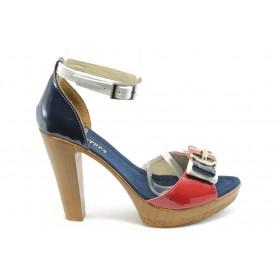 Дамски сандали - еко-кожа - сини - EO-3708