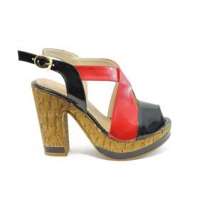 Дамски сандали - еко кожа-лак - червени - EO-3721