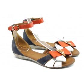 Дамски сандали - висококачествена еко-кожа - сини - EO-6464