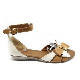 Дамски сандали - естествена кожа - бежови - EO-3734