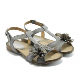 Дамски сандали - естествена кожа - сини - EO-3730
