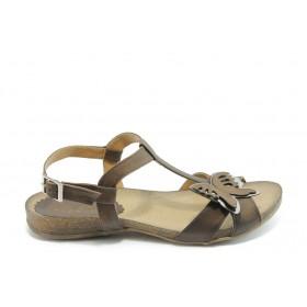 Дамски сандали - естествена кожа - кафяви - EO-3739