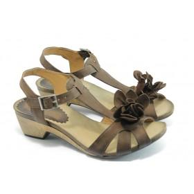 Дамски сандали - естествена кожа - кафяви - EO-3720
