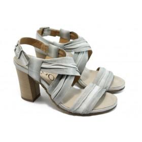 Дамски сандали - естествена кожа - бели - EO-3740