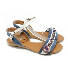 Дамски сандали - висококачествена еко-кожа - сини - EO-6465