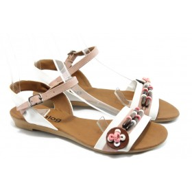 Дамски сандали - висококачествена еко-кожа - бели - EO-6466