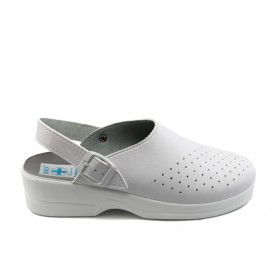 Дамски чехли - висококачествена еко-кожа - бели - EO-8668