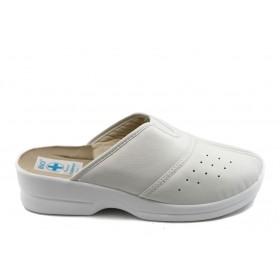 Дамски чехли - висококачествена еко-кожа - бели - EO-3735