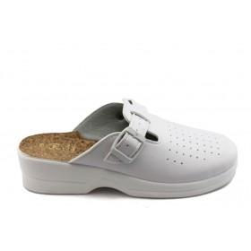 Дамски чехли - висококачествена еко-кожа - бели - EO-3736