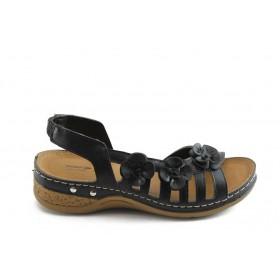 Дамски сандали - висококачествена еко-кожа - черни - EO-3767