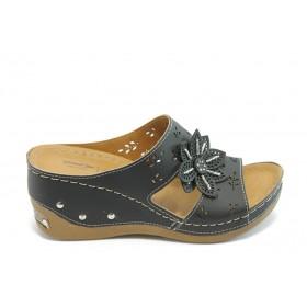 Дамски чехли - висококачествена еко-кожа - черни - EO-3782