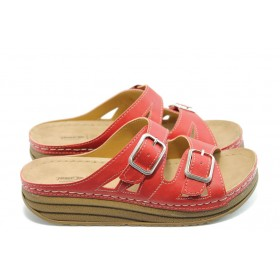 Дамски чехли - висококачествена еко-кожа - червени - EO-3783
