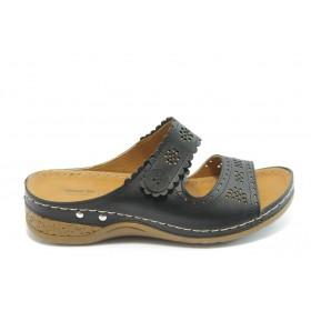 Дамски чехли - висококачествена еко-кожа - черни - EO-3792