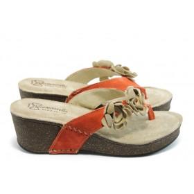 Дамски чехли - естествен велур - червени - EO-3790