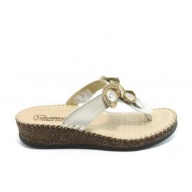 Дамски чехли - естествена кожа - бежови - EO-3797