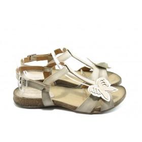 Дамски сандали - естествена кожа - бежови - EO-3802